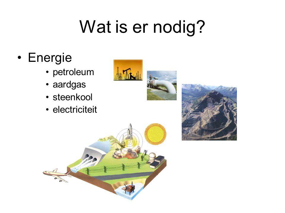 Wat is er nodig? Energie petroleum aardgas steenkool electriciteit