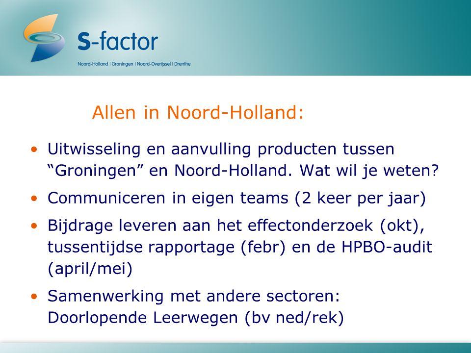 """Allen in Noord-Holland: Uitwisseling en aanvulling producten tussen """"Groningen"""" en Noord-Holland. Wat wil je weten? Communiceren in eigen teams (2 kee"""