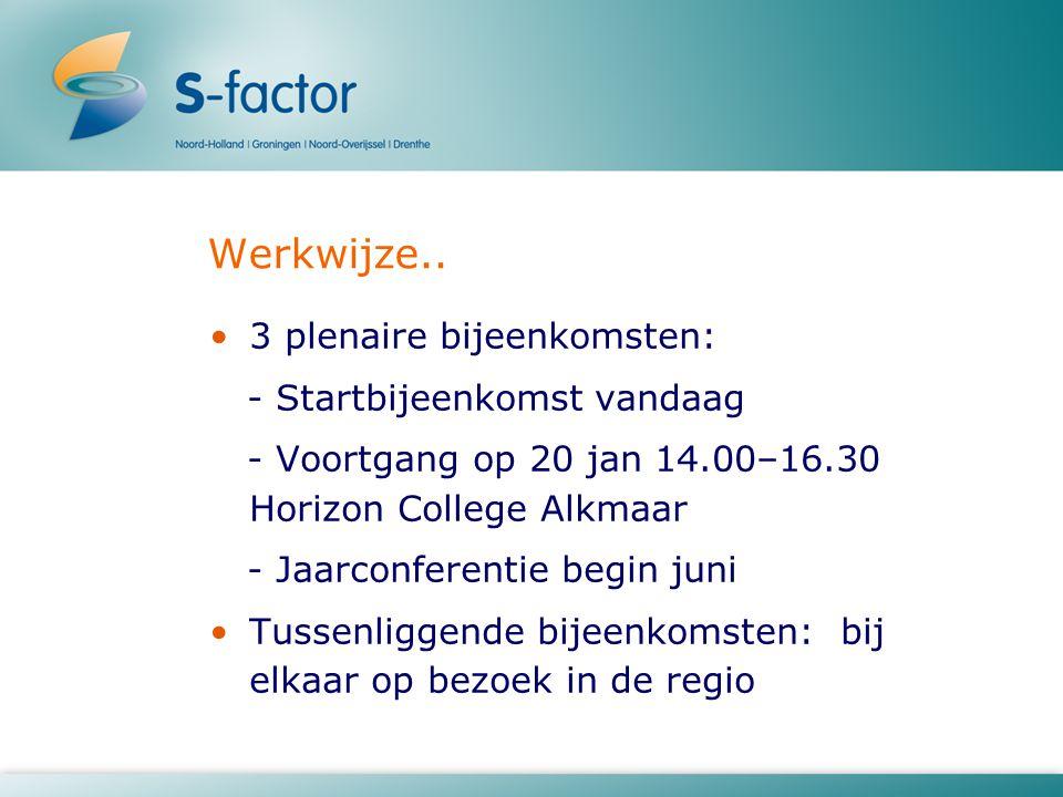 Werkwijze.. 3 plenaire bijeenkomsten: - Startbijeenkomst vandaag - Voortgang op 20 jan 14.00–16.30 Horizon College Alkmaar - Jaarconferentie begin jun