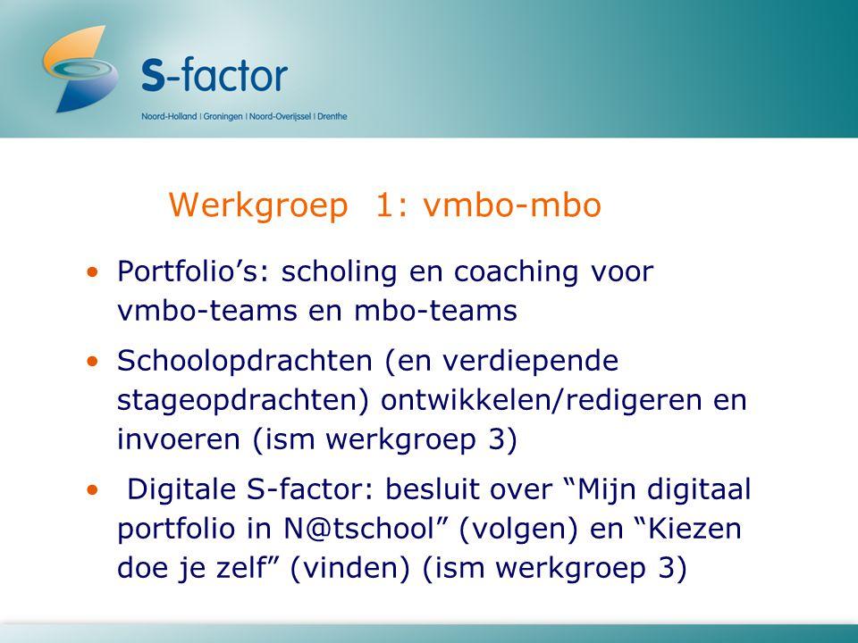 Werkgroep 1: vmbo-mbo Portfolio's: scholing en coaching voor vmbo-teams en mbo-teams Schoolopdrachten (en verdiepende stageopdrachten) ontwikkelen/redigeren en invoeren (ism werkgroep 3) Digitale S-factor: besluit over Mijn digitaal portfolio in N@tschool (volgen) en Kiezen doe je zelf (vinden) (ism werkgroep 3)