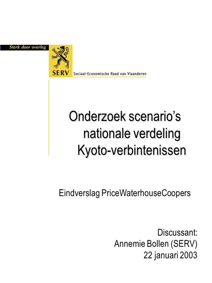 Onderzoek scenario's nationale verdeling Kyoto-verbintenissen Eindverslag PriceWaterhouseCoopers Discussant: Annemie Bollen (SERV) 22 januari 2003