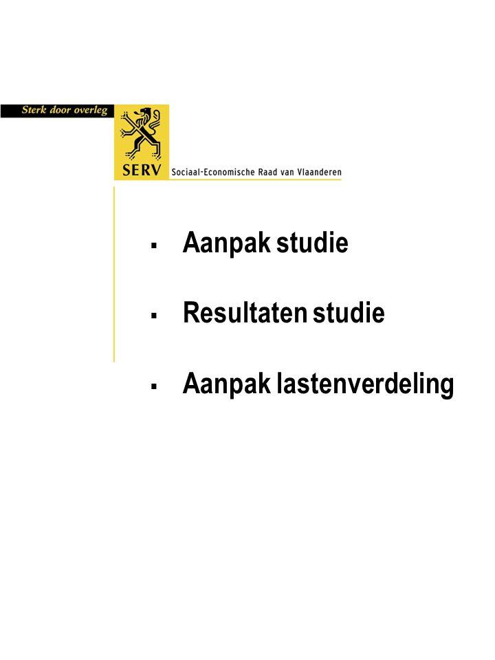  Aanpak studie  Resultaten studie  Aanpak lastenverdeling