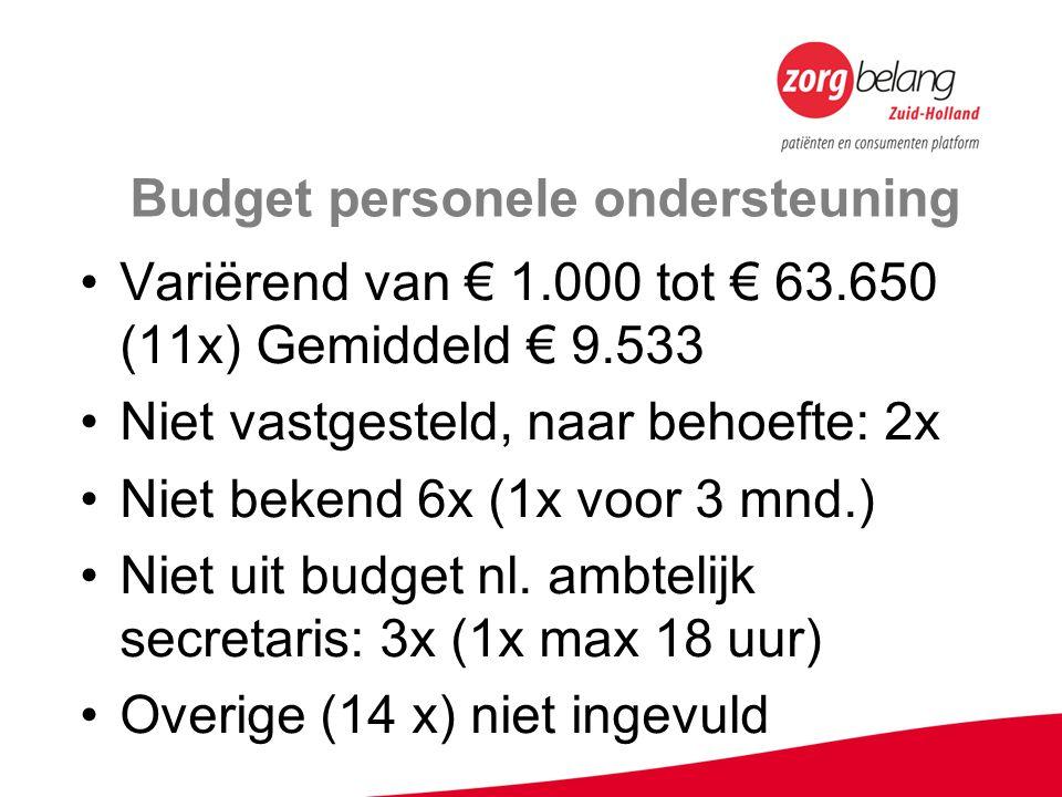 Budget personele ondersteuning Variërend van € 1.000 tot € 63.650 (11x) Gemiddeld € 9.533 Niet vastgesteld, naar behoefte: 2x Niet bekend 6x (1x voor 3 mnd.) Niet uit budget nl.