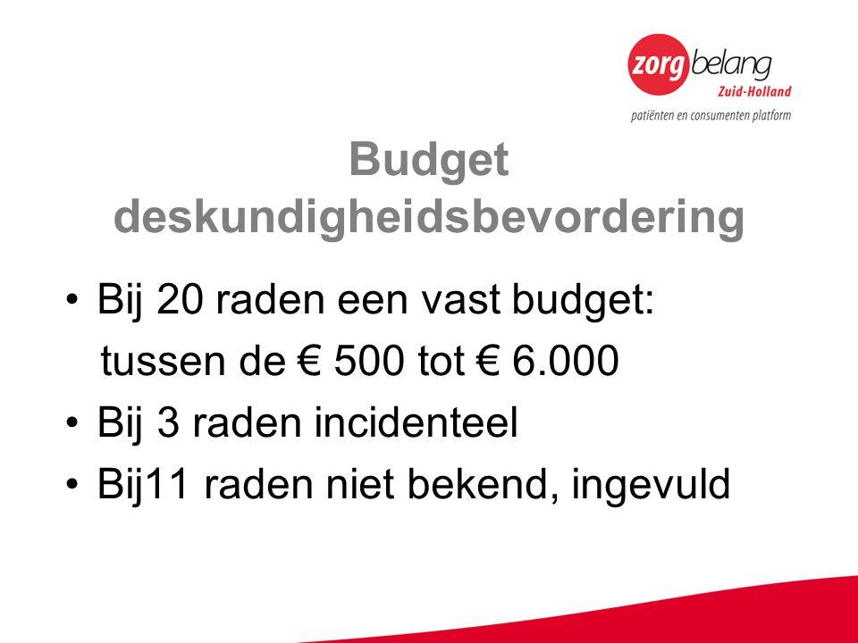 Budget deskundigheidsbevordering Bij 20 raden een vast budget: tussen de € 500 tot € 6.000 Bij 3 raden incidenteel Bij11 raden niet bekend, ingevuld
