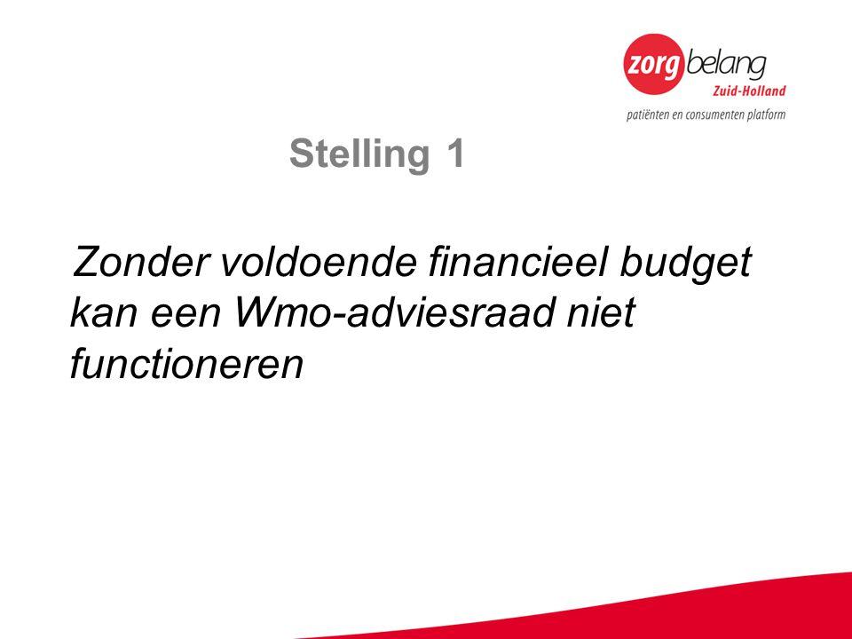 Stelling 1 Zonder voldoende financieel budget kan een Wmo-adviesraad niet functioneren