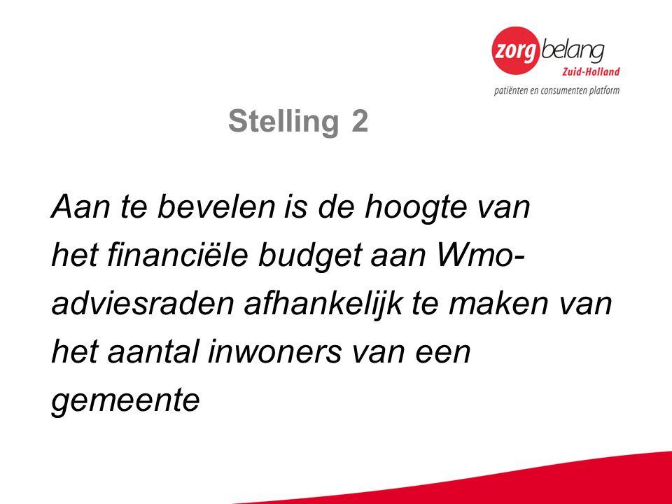 Stelling 2 Aan te bevelen is de hoogte van het financiële budget aan Wmo- adviesraden afhankelijk te maken van het aantal inwoners van een gemeente