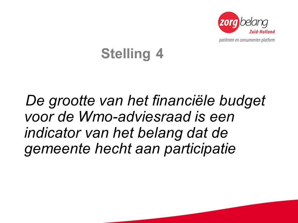 Stelling 4 De grootte van het financiële budget voor de Wmo-adviesraad is een indicator van het belang dat de gemeente hecht aan participatie