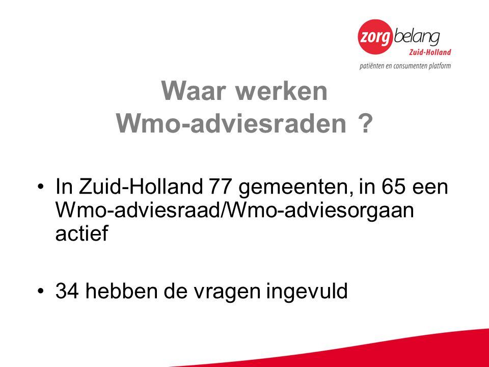 Waar werken Wmo-adviesraden ? In Zuid-Holland 77 gemeenten, in 65 een Wmo-adviesraad/Wmo-adviesorgaan actief 34 hebben de vragen ingevuld