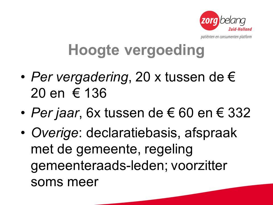 Hoogte vergoeding Per vergadering, 20 x tussen de € 20 en € 136 Per jaar, 6x tussen de € 60 en € 332 Overige: declaratiebasis, afspraak met de gemeent