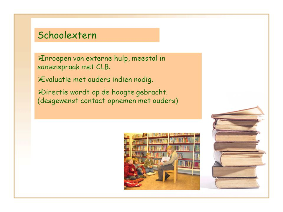 Schoolextern IInroepen van externe hulp, meestal in samenspraak met CLB.