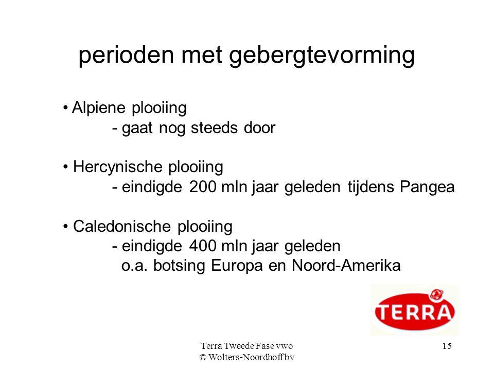 Terra Tweede Fase vwo © Wolters-Noordhoff bv 15 perioden met gebergtevorming Alpiene plooiing - gaat nog steeds door Hercynische plooiing - eindigde 2