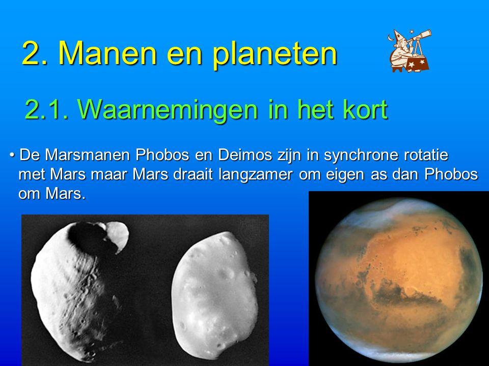 2.Manen en planeten 2.1. Waarnemingen in het kort 2.1.