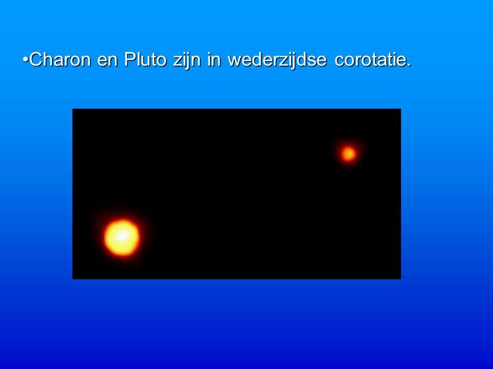 Charon en Pluto zijn in wederzijdse corotatie.Charon en Pluto zijn in wederzijdse corotatie.