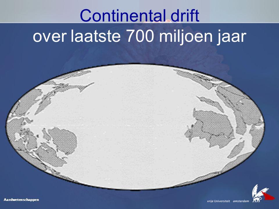 Aardwetenschappen Continental drift over laatste 700 miljoen jaar