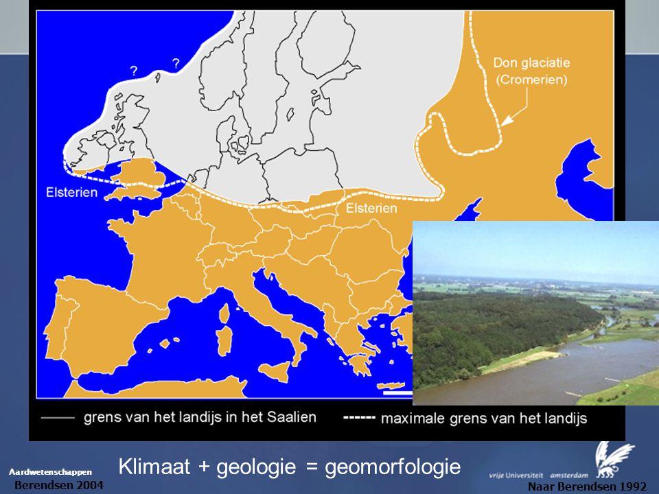 Aardwetenschappen Klimaat + geologie = geomorfologie Berendsen 2004 Naar Berendsen 1992