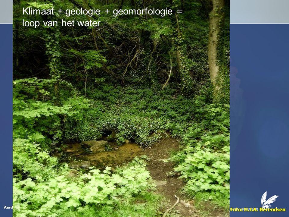Aardwetenschappen Foto: H.J.A. Berendsen Klimaat + geologie + geomorfologie = loop van het water