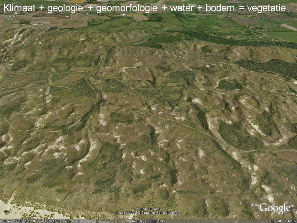 Aardwetenschappen Klimaat + geologie + geomorfologie + water + bodem = vegetatie
