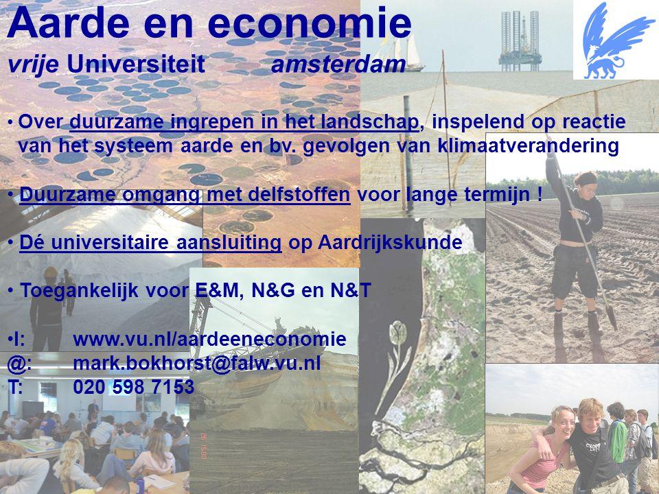 Aardwetenschappen Aarde en economie vrije Universiteit amsterdam Over duurzame ingrepen in het landschap, inspelend op reactie van het systeem aarde en bv.