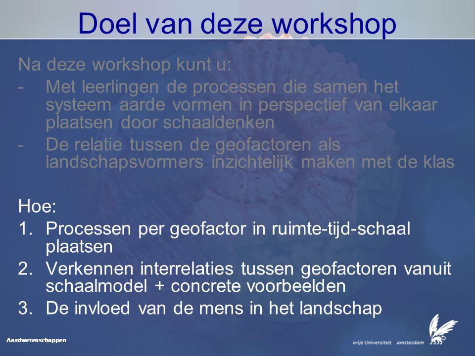 Aardwetenschappen Doel van deze workshop Na deze workshop kunt u: -Met leerlingen de processen die samen het systeem aarde vormen in perspectief van elkaar plaatsen door schaaldenken -De relatie tussen de geofactoren als landschapsvormers inzichtelijk maken met de klas Hoe: 1.Processen per geofactor in ruimte-tijd-schaal plaatsen 2.Verkennen interrelaties tussen geofactoren vanuit schaalmodel + concrete voorbeelden 3.De invloed van de mens in het landschap
