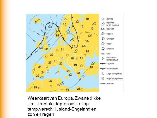 Weerkaart van Europa. Zwarte dikke lijn = frontale depressie. Let op temp.verschil IJsland-Engeland en zon en regen
