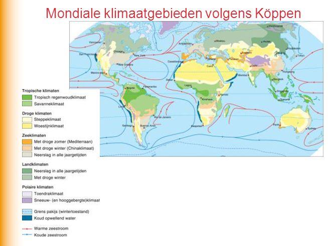 Mondiale klimaatgebieden volgens Köppen