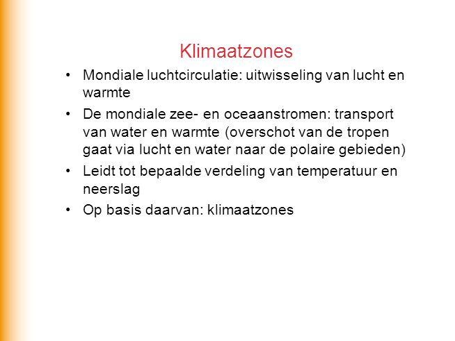 Klimaatzones Mondiale luchtcirculatie: uitwisseling van lucht en warmte De mondiale zee- en oceaanstromen: transport van water en warmte (overschot va