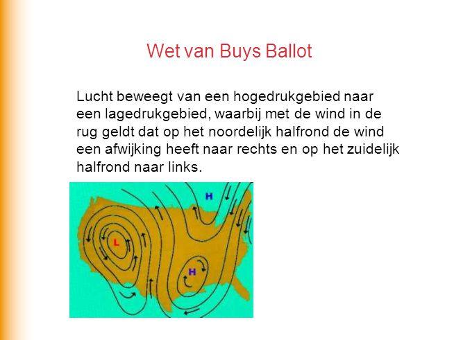 Wet van Buys Ballot Lucht beweegt van een hogedrukgebied naar een lagedrukgebied, waarbij met de wind in de rug geldt dat op het noordelijk halfrond d