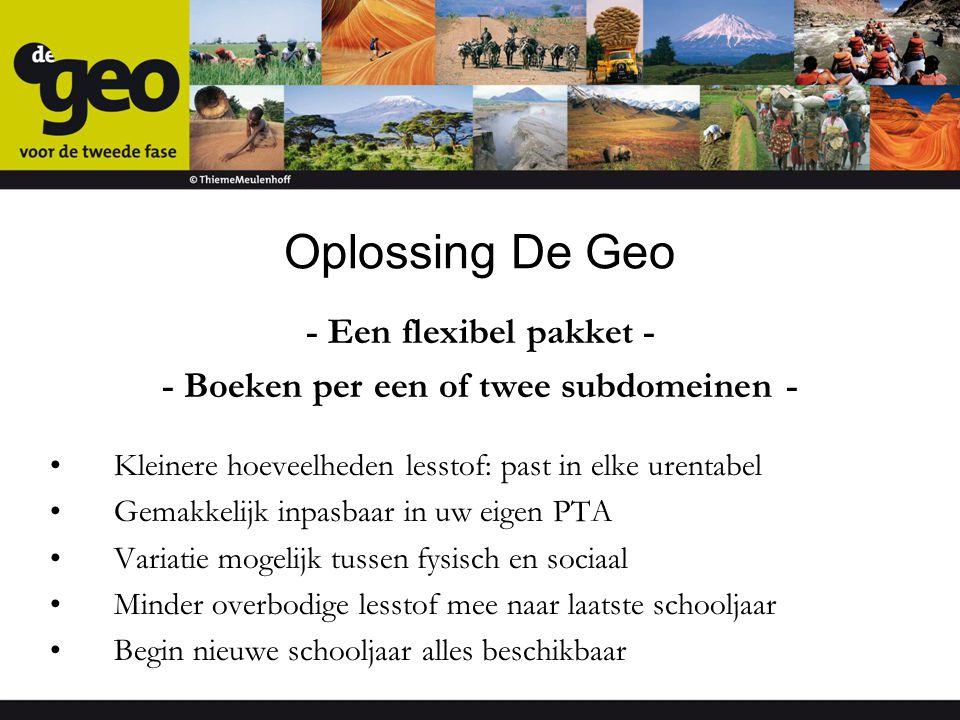 Oplossing De Geo - Een flexibel pakket - - Boeken per een of twee subdomeinen - Kleinere hoeveelheden lesstof: past in elke urentabel Gemakkelijk inpa