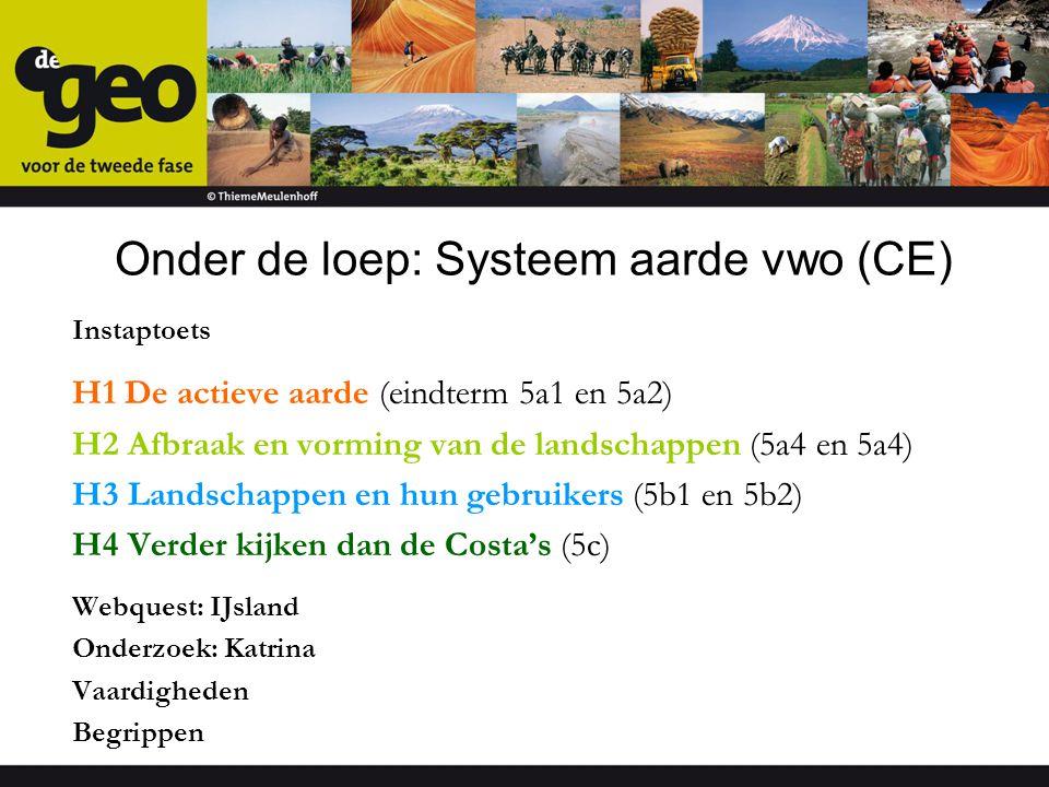 Onder de loep: Systeem aarde vwo (CE) Instaptoets H1 De actieve aarde (eindterm 5a1 en 5a2) H2 Afbraak en vorming van de landschappen (5a4 en 5a4) H3