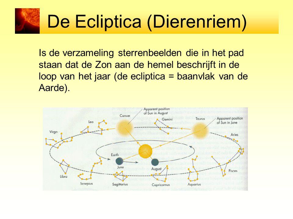 De Ecliptica (Dierenriem) Is de verzameling sterrenbeelden die in het pad staan dat de Zon aan de hemel beschrijft in de loop van het jaar (de eclipti