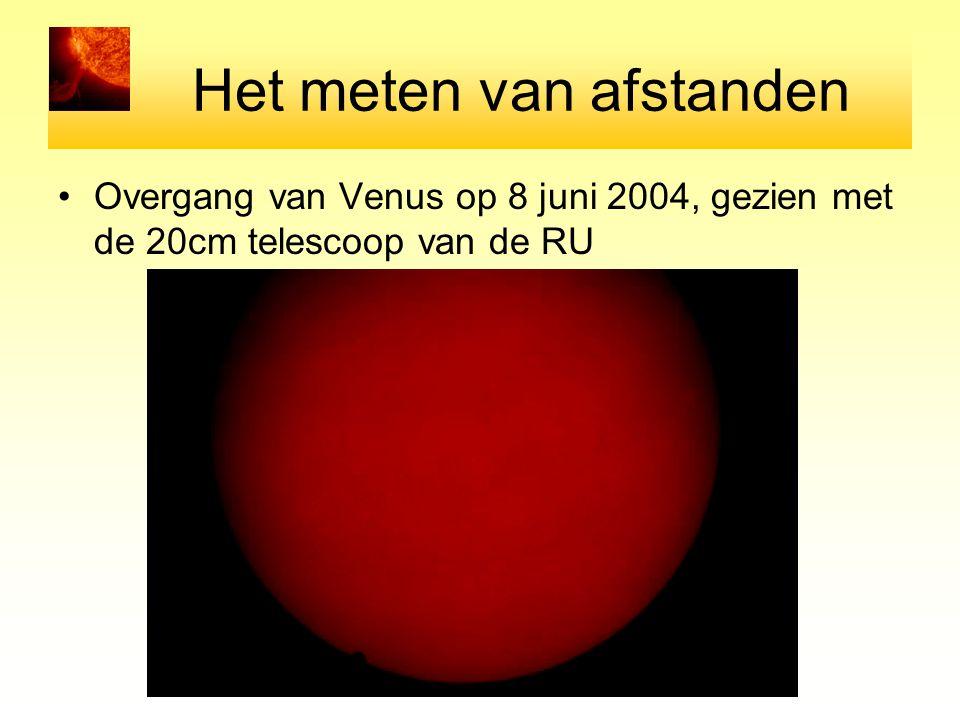 Het meten van afstanden Overgang van Venus op 8 juni 2004, gezien met de 20cm telescoop van de RU