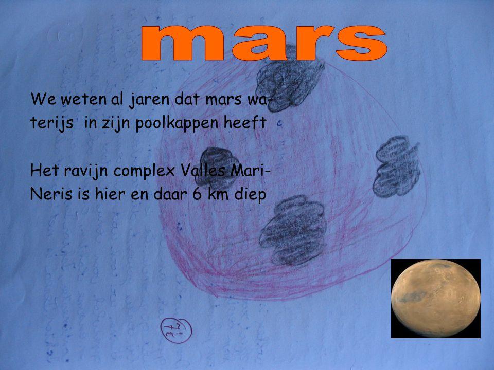 We weten al jaren dat mars wa- terijs in zijn poolkappen heeft Het ravijn complex Valles Mari- Neris is hier en daar 6 km diep
