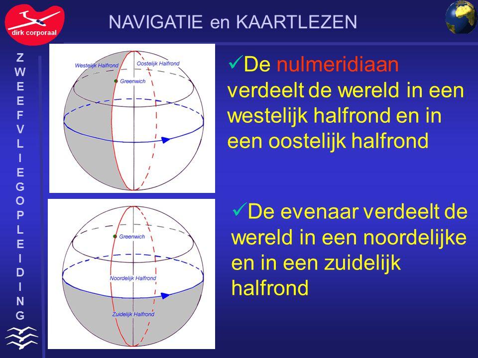 ZWEEFVLIEGOPLEIDINGZWEEFVLIEGOPLEIDING Een cirkel bestaat uit 360° De evenaar is verdeeld in 180° oost en 180° west Eén graad is 60 Nautical Mile lang Een graad is onderverdeeld in 60 minuten Een minuut is onderverdeeld in 60 seconden Eén graad = 111 km NAVIGATIE en KAARTLEZEN