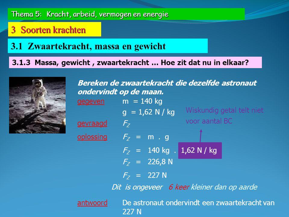 Thema 5: Kracht, arbeid, vermogen en energie 3 Soorten krachten 3.1 Zwaartekracht, massa en gewicht Bereken de zwaartekracht die dezelfde astronaut on