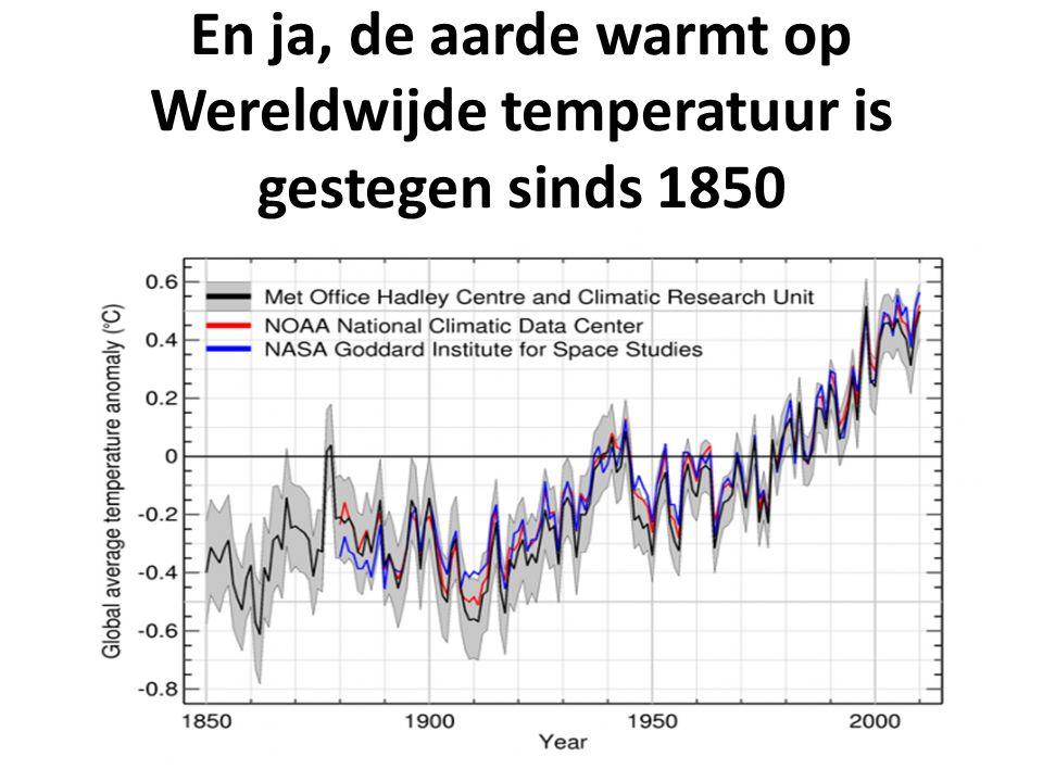 En ja, de aarde warmt op Wereldwijde temperatuur is gestegen sinds 1850