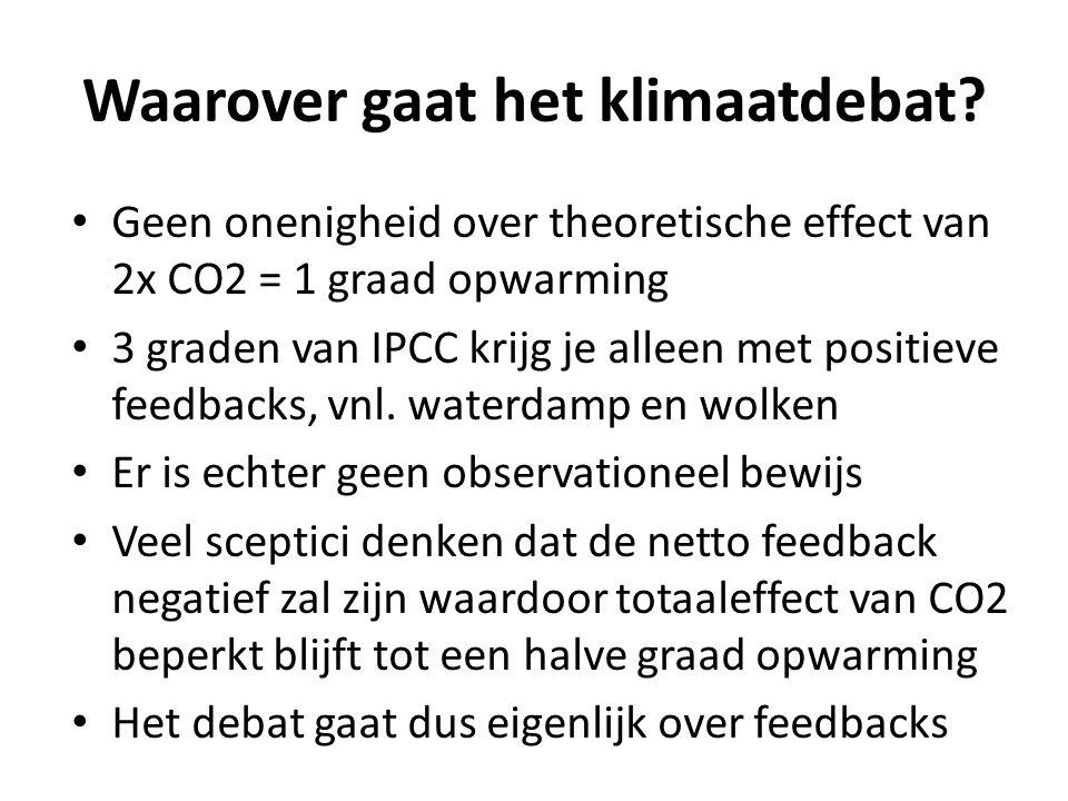 Waarover gaat het klimaatdebat? Geen onenigheid over theoretische effect van 2x CO2 = 1 graad opwarming 3 graden van IPCC krijg je alleen met positiev