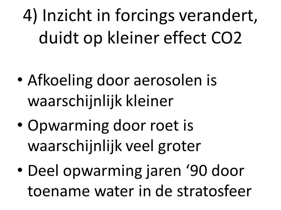 4) Inzicht in forcings verandert, duidt op kleiner effect CO2 Afkoeling door aerosolen is waarschijnlijk kleiner Opwarming door roet is waarschijnlijk
