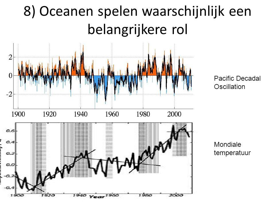 8) Oceanen spelen waarschijnlijk een belangrijkere rol Pacific Decadal Oscillation Mondiale temperatuur