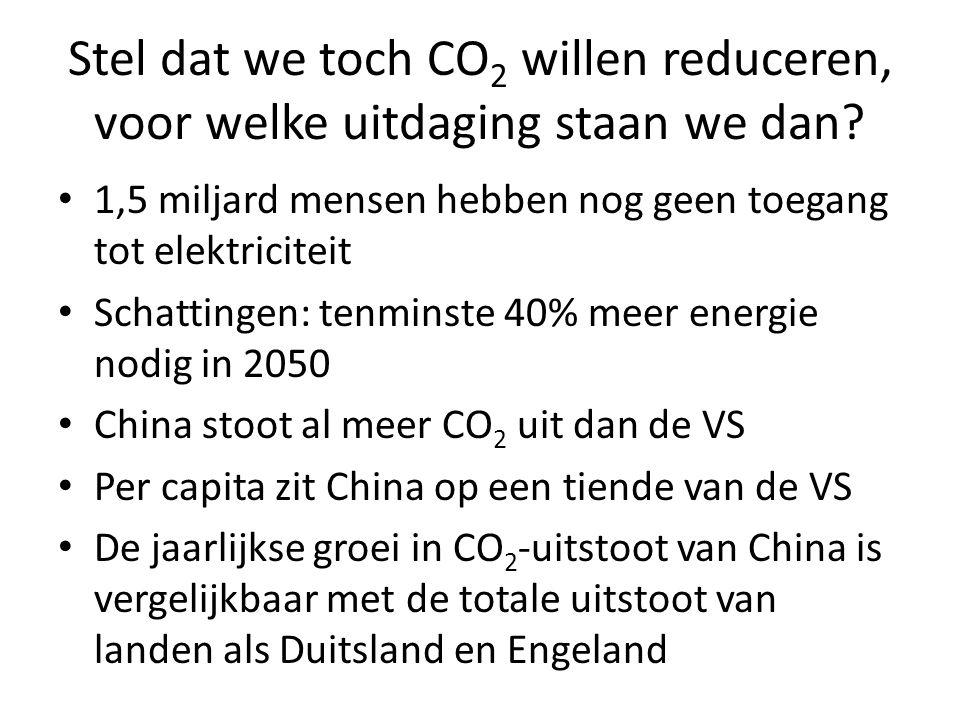 Stel dat we toch CO 2 willen reduceren, voor welke uitdaging staan we dan? 1,5 miljard mensen hebben nog geen toegang tot elektriciteit Schattingen: t