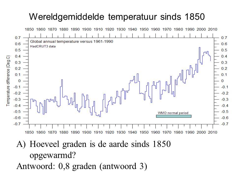 A)Hoeveel graden is de aarde sinds 1850 opgewarmd? Antwoord: 0,8 graden (antwoord 3) Wereldgemiddelde temperatuur sinds 1850