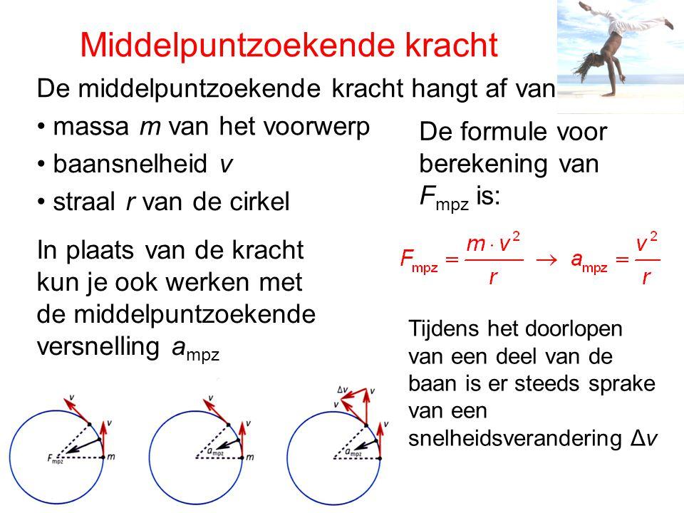 Middelpuntzoekende kracht De middelpuntzoekende kracht hangt af van massa m van het voorwerp baansnelheid v straal r van de cirkel De formule voor ber