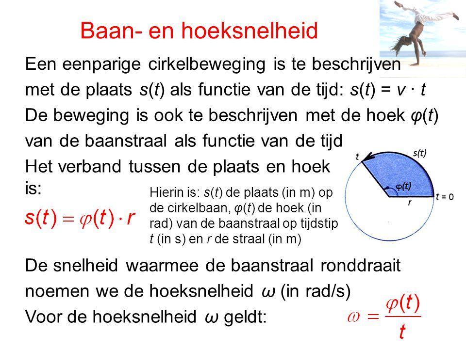 Baan- en hoeksnelheid Een eenparige cirkelbeweging is te beschrijven met de plaats s(t) als functie van de tijd: s(t) = v ∙ t De beweging is ook te be