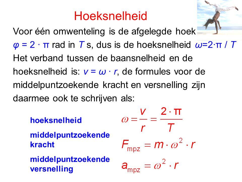 Hoeksnelheid Voor één omwenteling is de afgelegde hoek φ = 2 ∙ π rad in T s, dus is de hoeksnelheid ω=2 ∙π / T Het verband tussen de baansnelheid en d