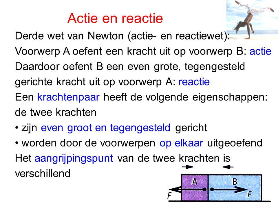 Actie en reactie Derde wet van Newton (actie- en reactiewet): Voorwerp A oefent een kracht uit op voorwerp B: actie Daardoor oefent B een even grote,