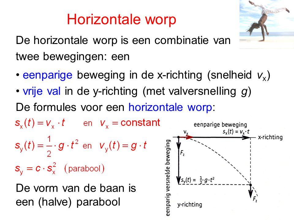 Horizontale worp De horizontale worp is een combinatie van twee bewegingen: een eenparige beweging in de x-richting (snelheid v x ) vrije val in de y-