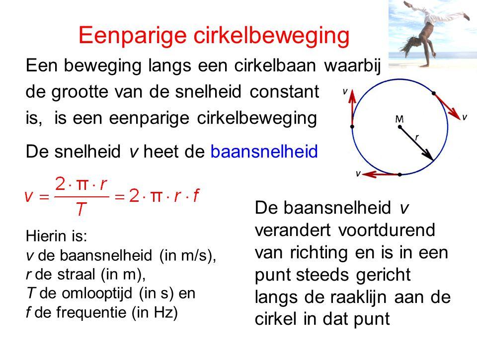 Eenparige cirkelbeweging Een beweging langs een cirkelbaan waarbij de grootte van de snelheid constant is, is een eenparige cirkelbeweging De snelheid