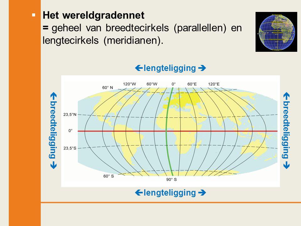  Het wereldgradennet = geheel van breedtecirkels (parallellen) en lengtecirkels (meridianen).  lengteligging   breedteligging 
