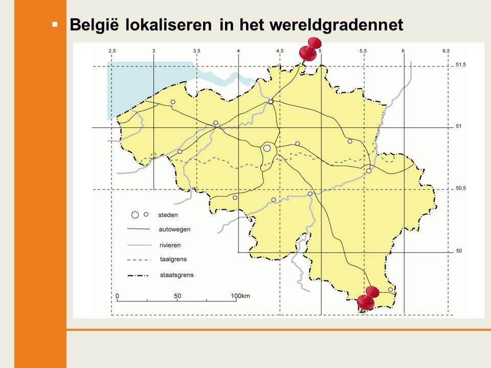  België lokaliseren in het wereldgradennet