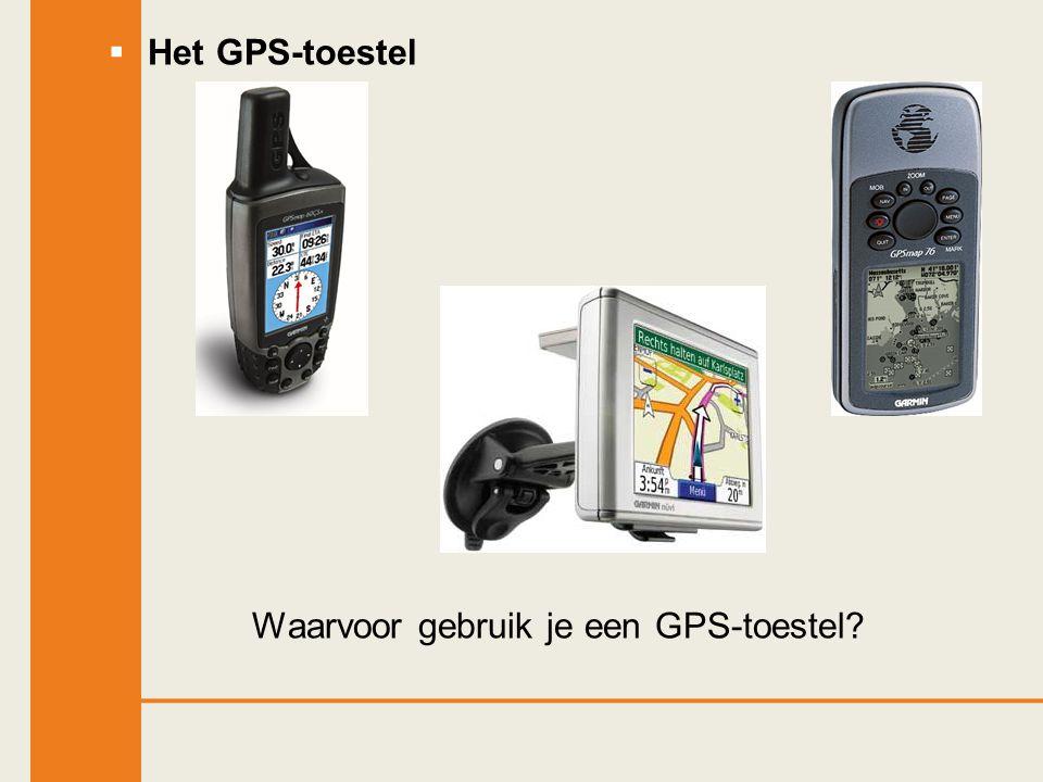 Het GPS-toestel Waarvoor gebruik je een GPS-toestel?