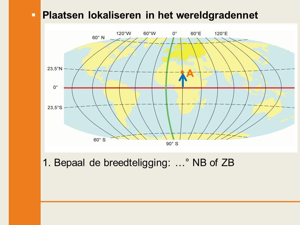  Plaatsen lokaliseren in het wereldgradennet 1. Bepaal de breedteligging: …° NB of ZB A